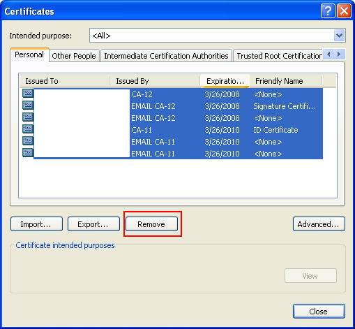 certificates cac gal publish warning yes window close box